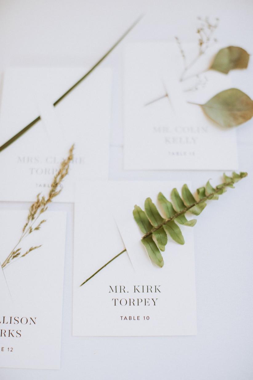 greenery wedding escort cards