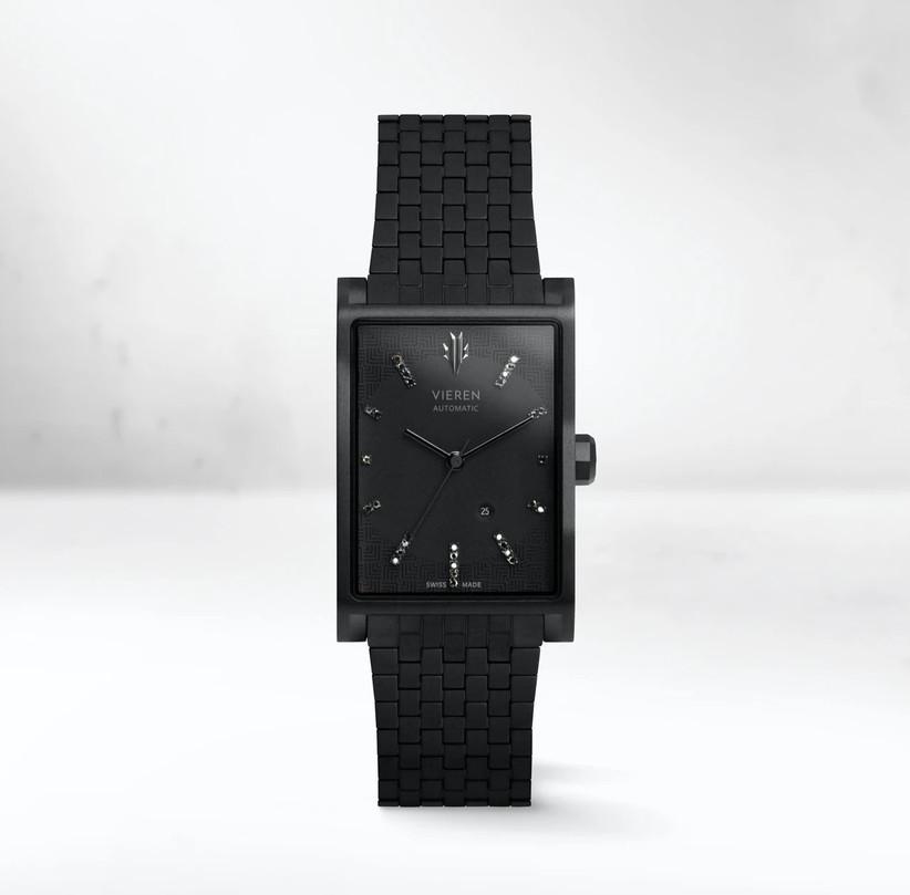 Unique rectangular black diamond monochrome engagement watch