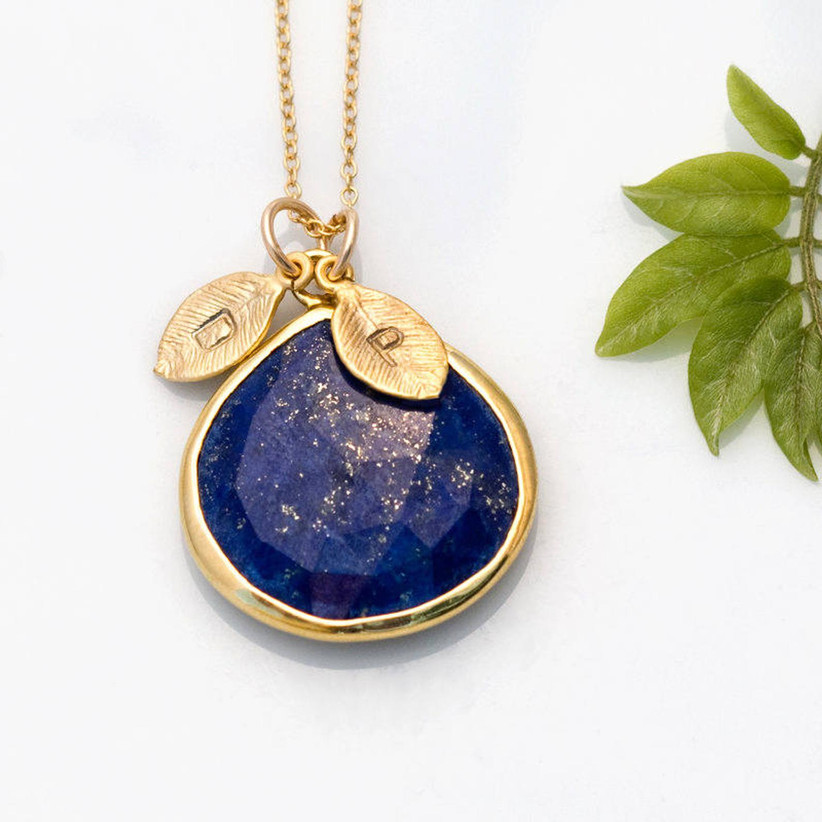 Lapis lazuli blue stone gemstone necklace with gold leaves stamped with initial