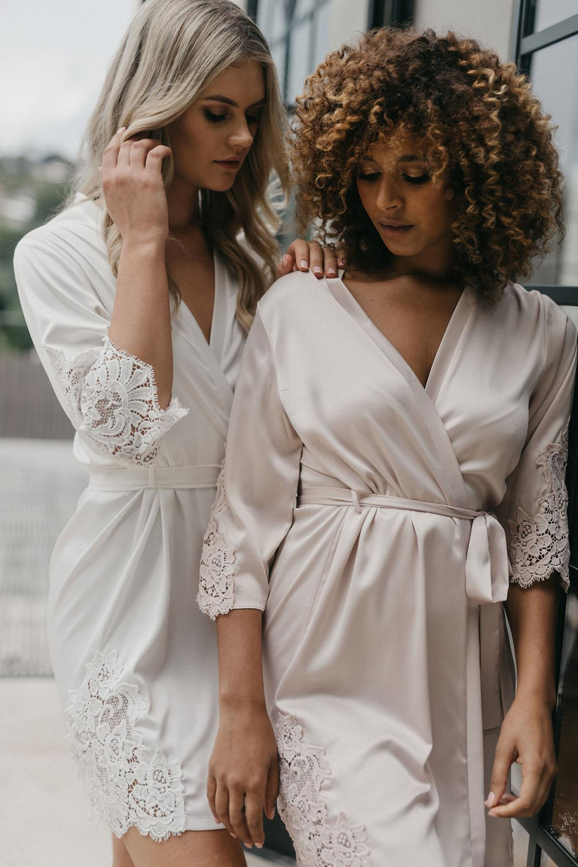 Lace trim bridal robes in white and mauve