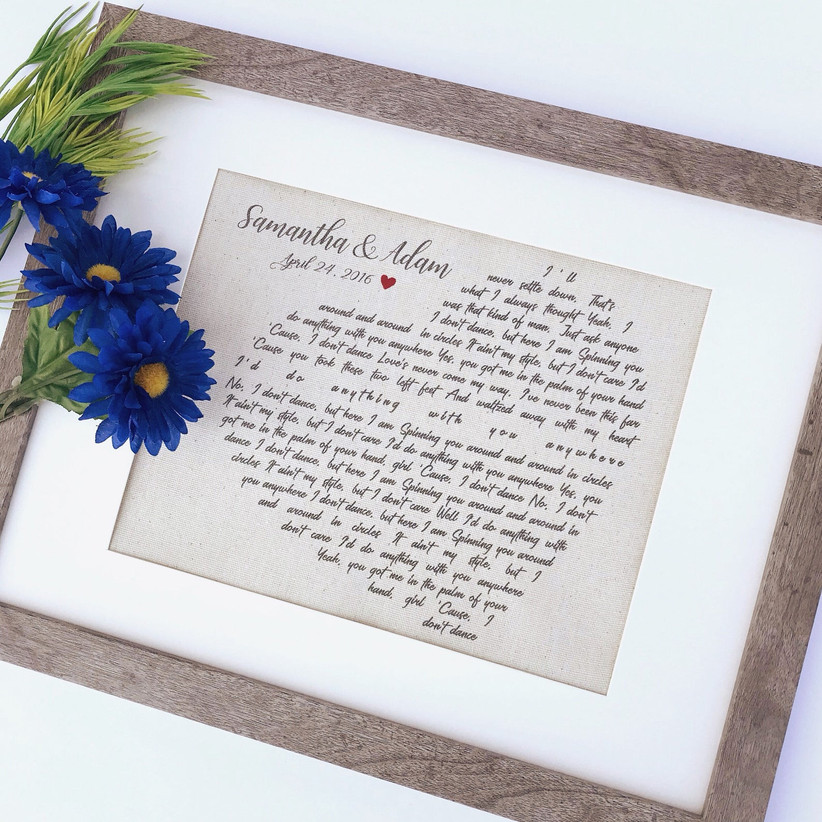framed posted with first dance song lyrics
