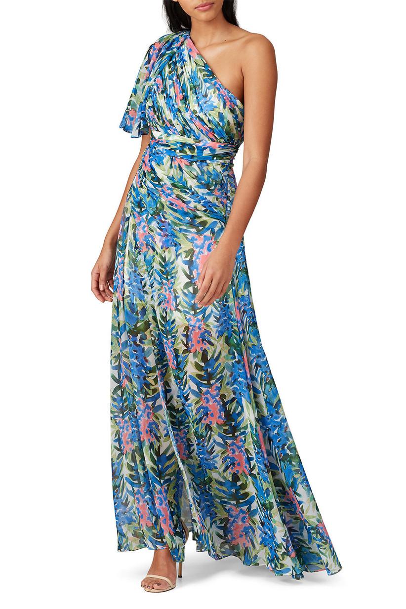 Elegant tropical print maxi dress