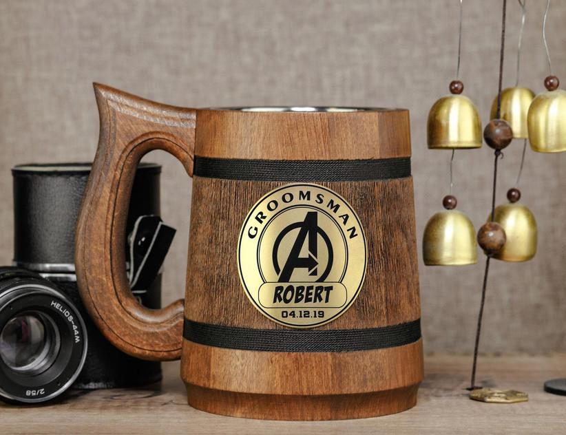 Personalized superhero beer mug groomsmen gift idea