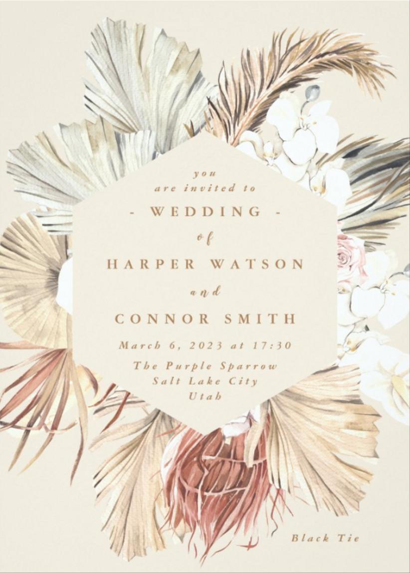 boho fall wedding invitation