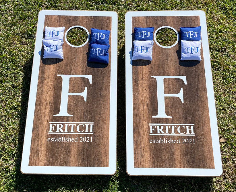 custom wooden cornhole boards decorated with
