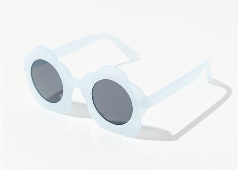 light blue flower-shaped sunglasses