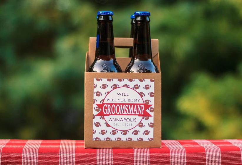Groomsmen proposal beer carrier