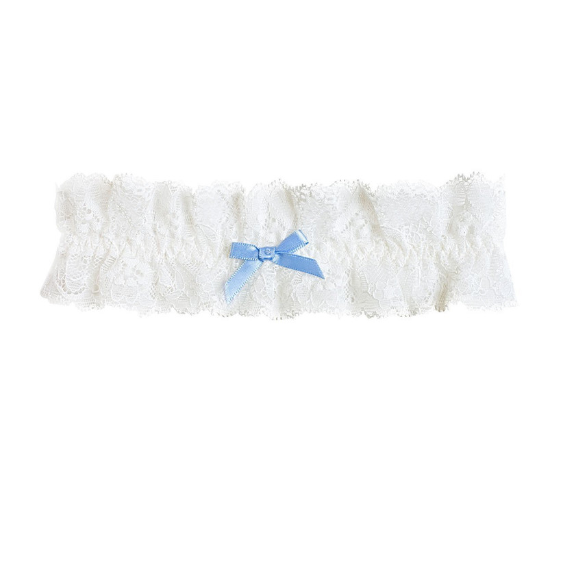 White lacy bridal garter with blue bow on a white background