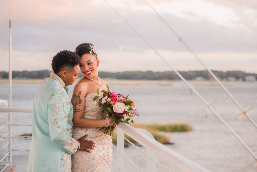 couple overlooking beach