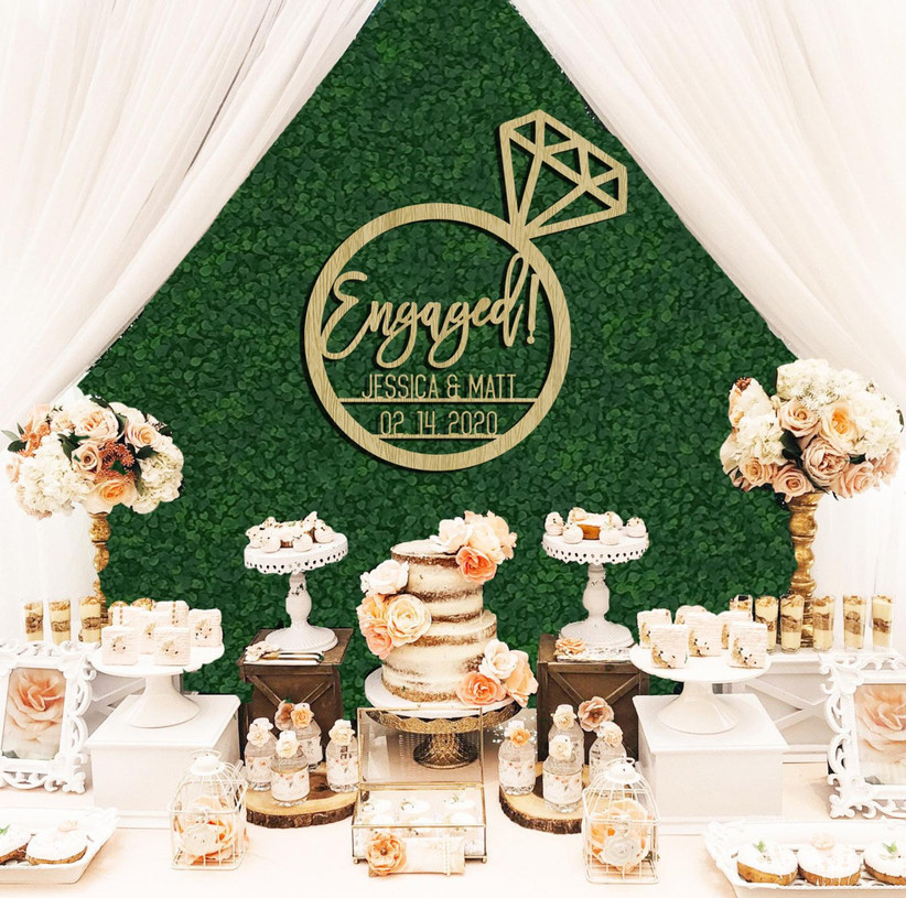 Engagement ring sign decoration idea personalized with names and date