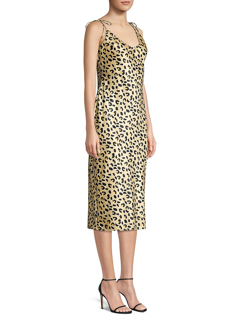 leopard-print bachelorette party dress with midi skirt and spaghetti sleeves