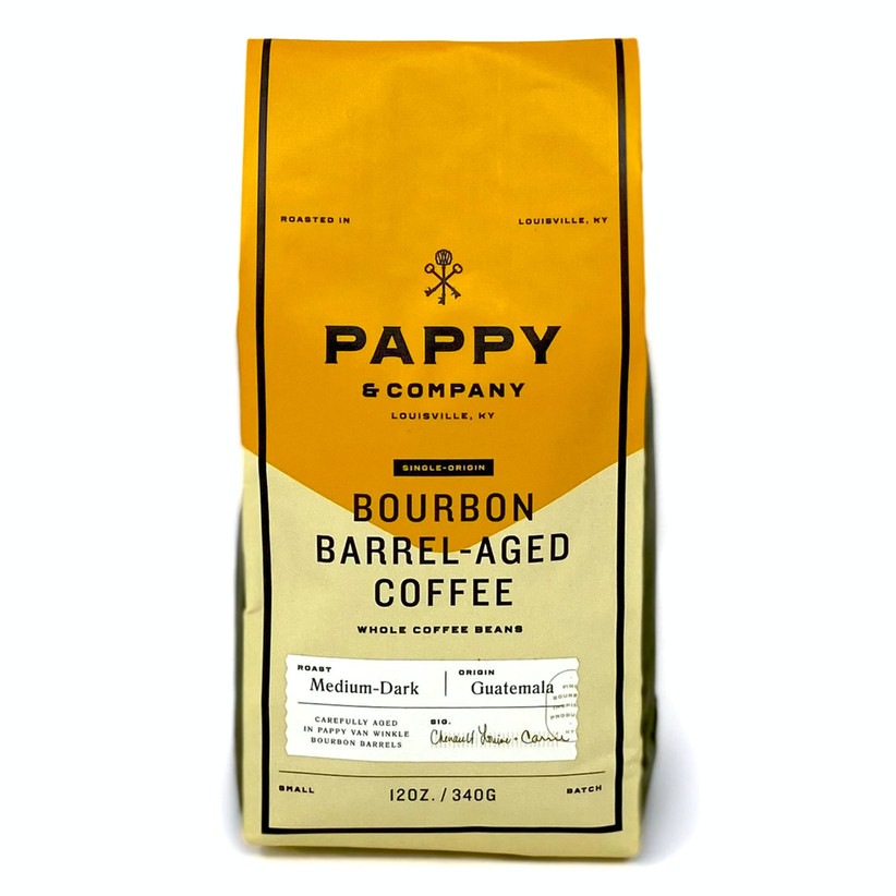 Yellow bag of Pappy & Company bourbon barrel-aged coffee beans