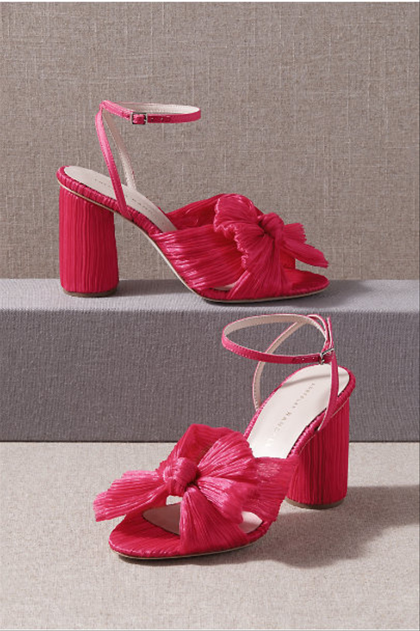 Wedding Guest Shoes hot pink heels with bow