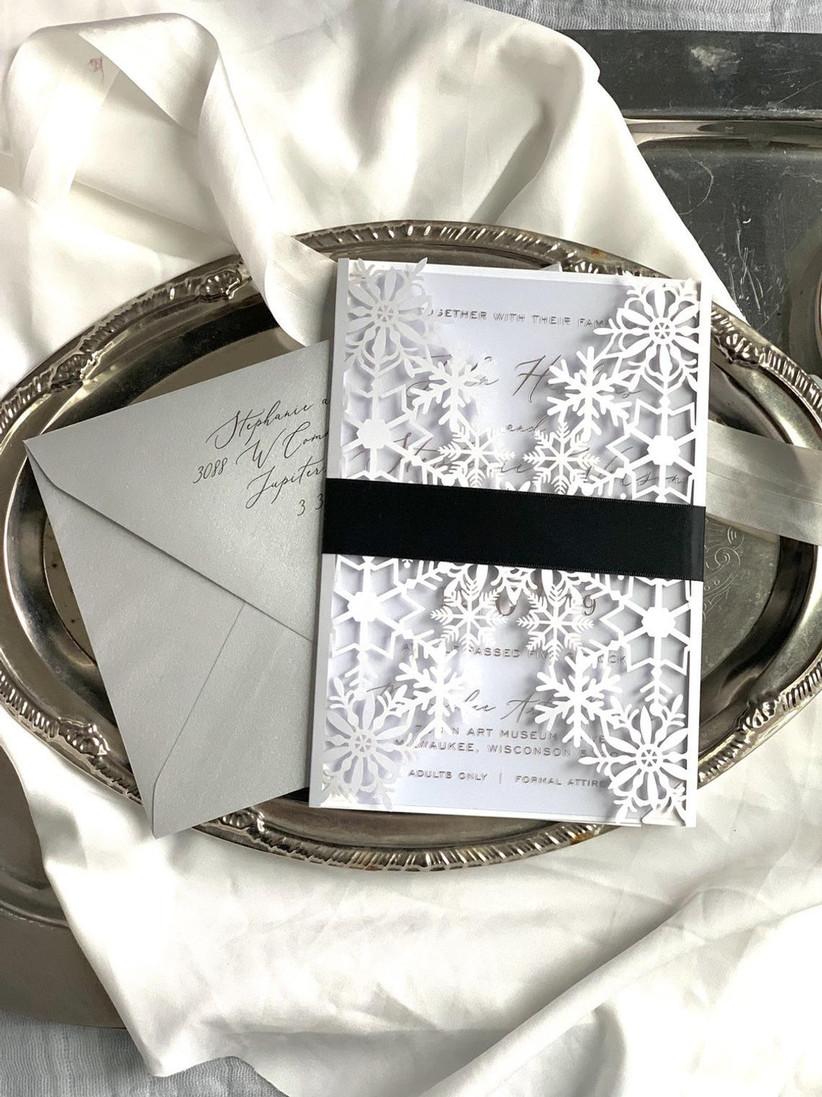 elegant snowflake winter wedding invitations