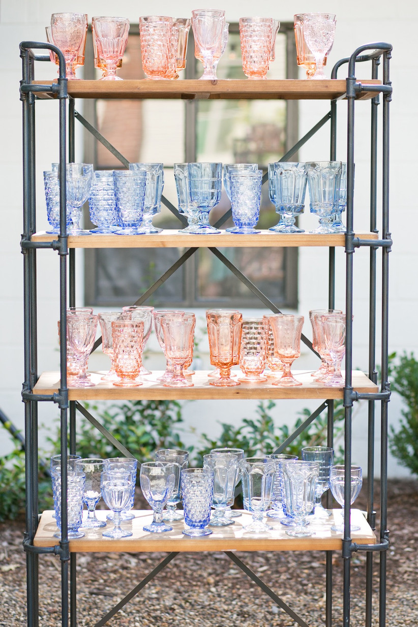 spring wedding idea colorful glass goblets