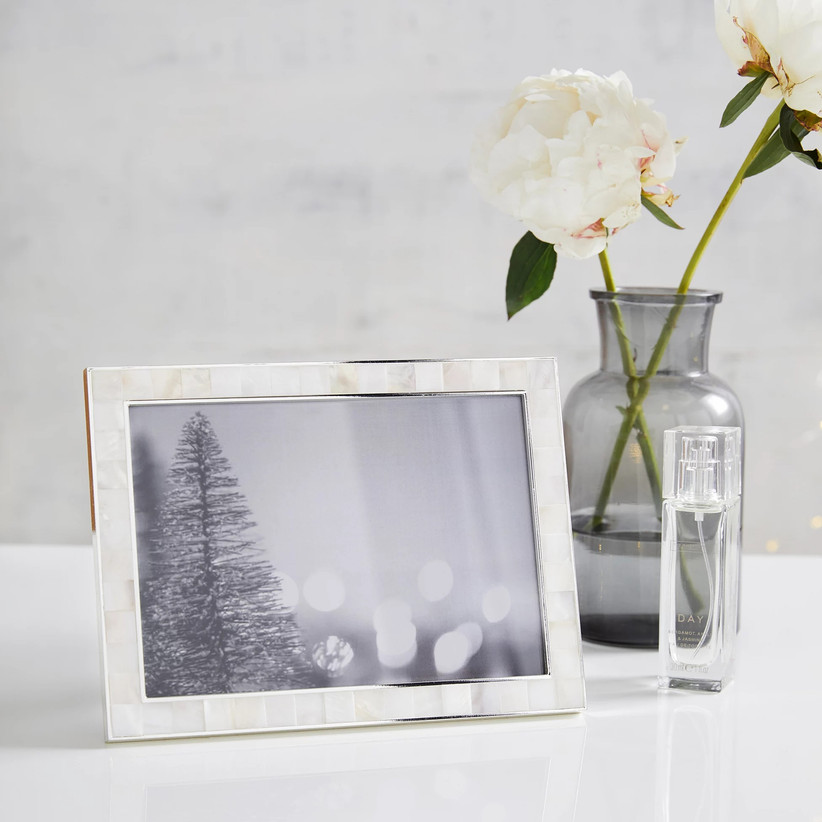 Mother-of-pearl photo frame gift idea for mom of the bride