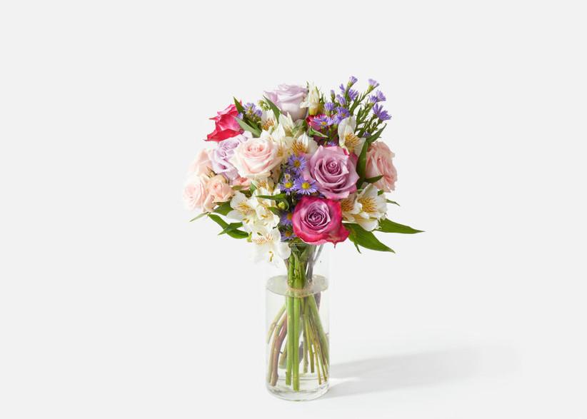 colorful floral arrangement in a glass vase