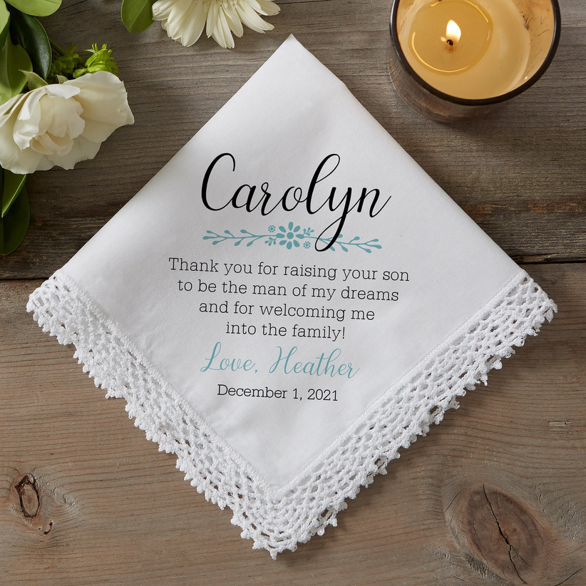 Heartfelt message hankie from future daughter or son in law to mother of the groom