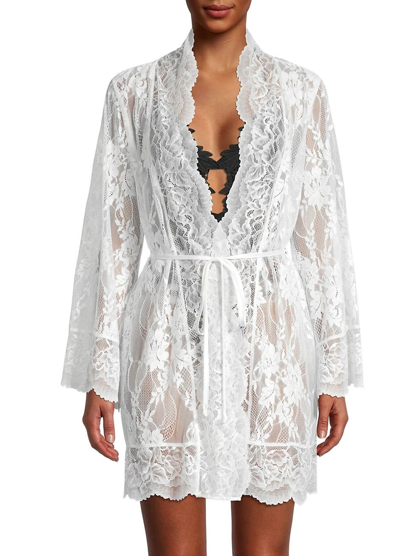 Allover lace short white bridal robe