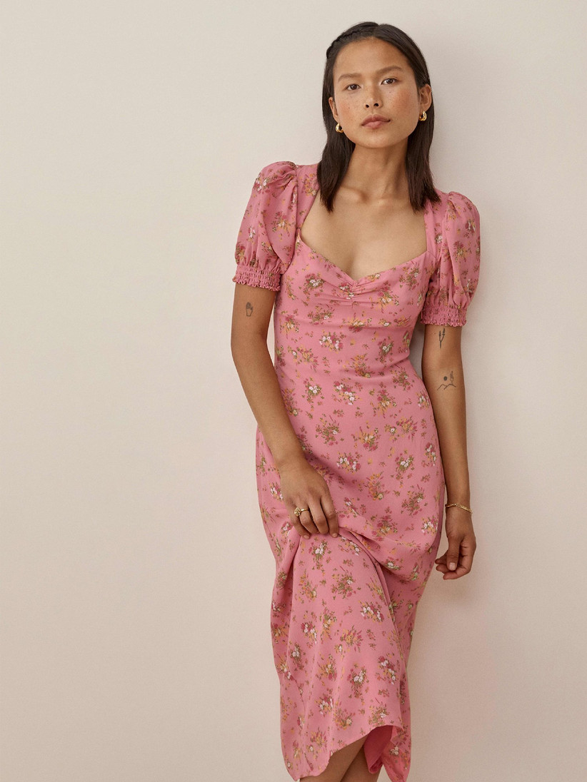 Cottagecore pink floral midi