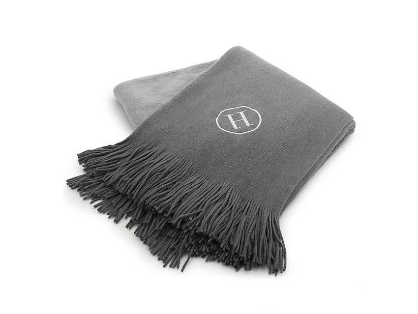 Monogram gray throw blanket 18th anniversary gift idea