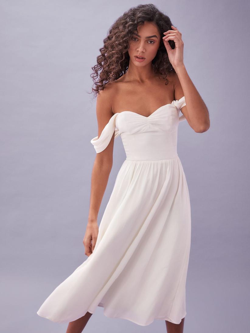 off the shoulder courthouse wedding dress