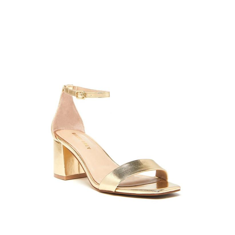simple metallic gold block heel beach wedding sandal