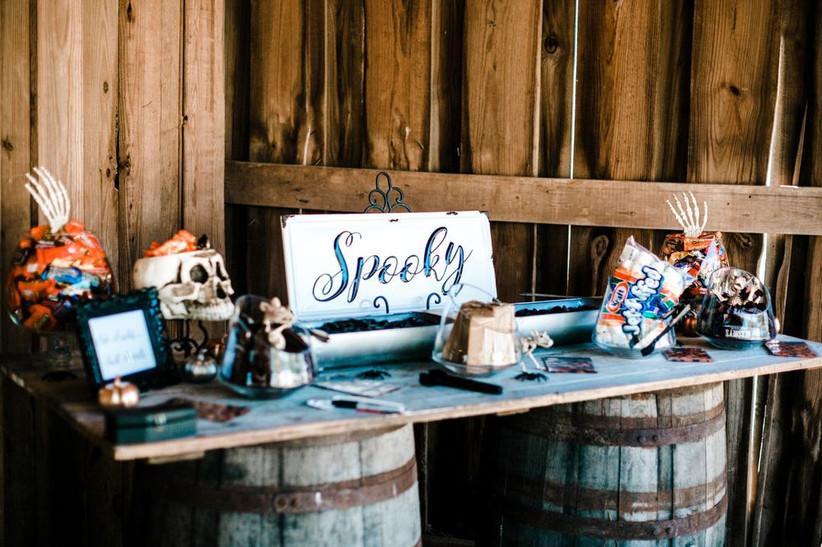 halloween themed wedding idea self-serve candy station