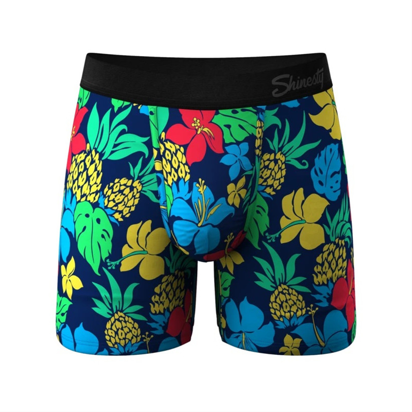 Tropical patterned boxer briefs with black waistband reading Shinesty