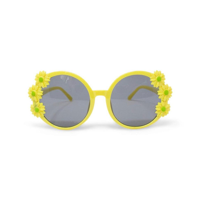 yellow sunglasses with miniature faux daisies on both sides of the lenses