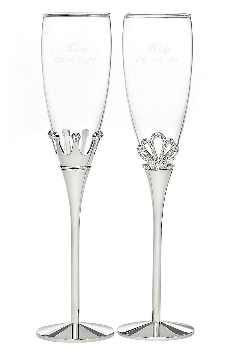 Fairytale crown-detail wedding toasting glasses