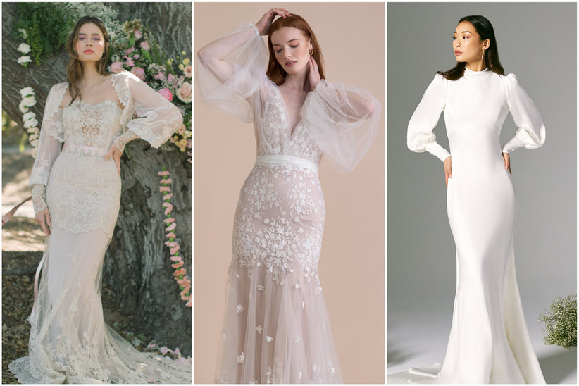 image collage of models wearing trending wedding dresses for 2022 with bishop sleeves