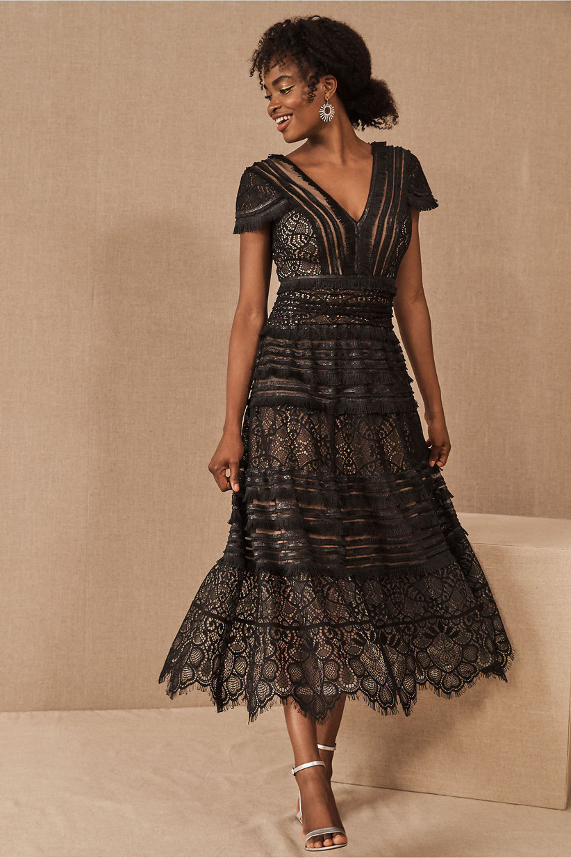 Tiered lace black rehearsal dinner dress