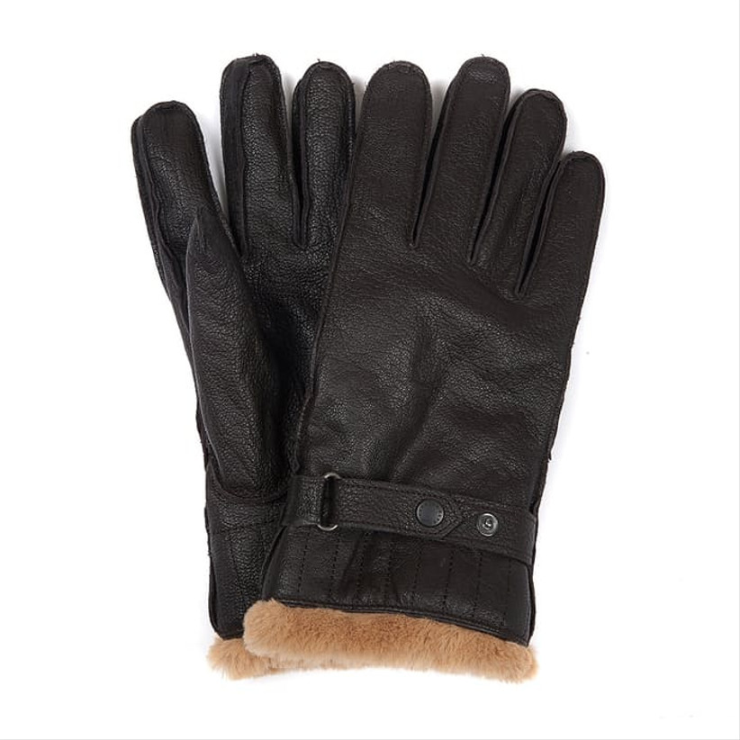 black leather and fur lined gloves