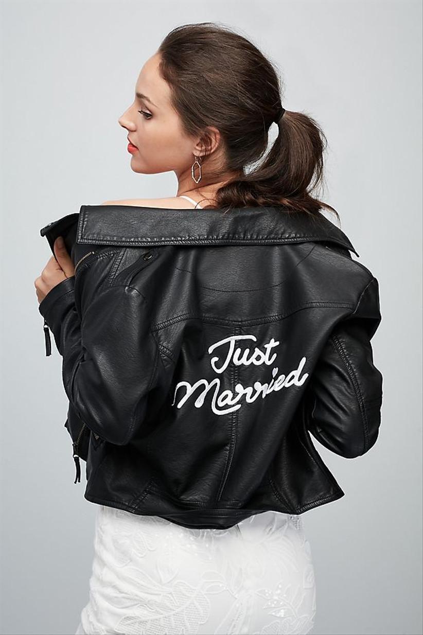 black vegan leather moto bridal jacket with