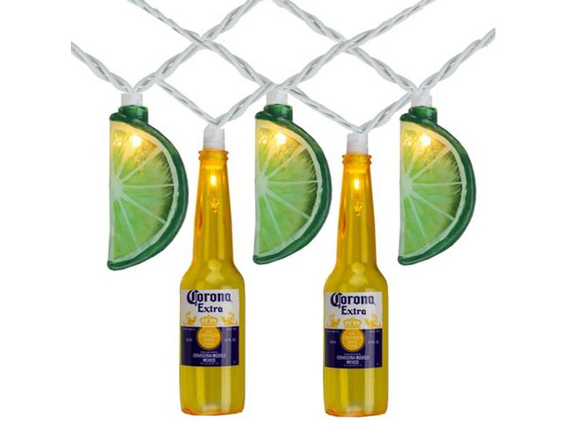 corona beer and lime string lights