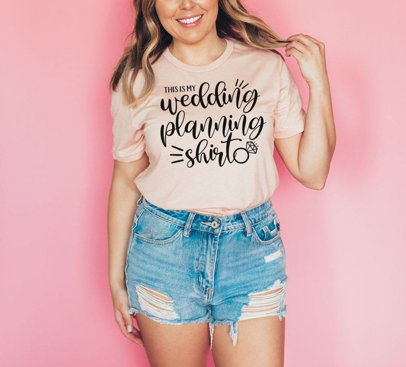 pink wedding planning tee shirt