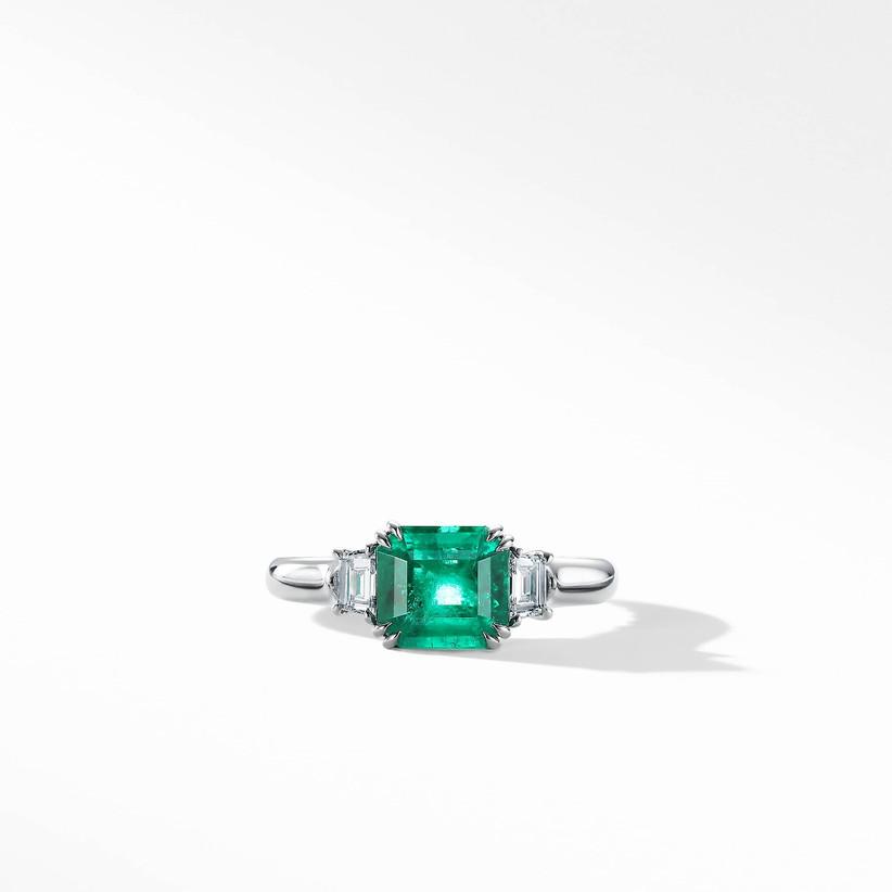unique emerald three stone engagement ring