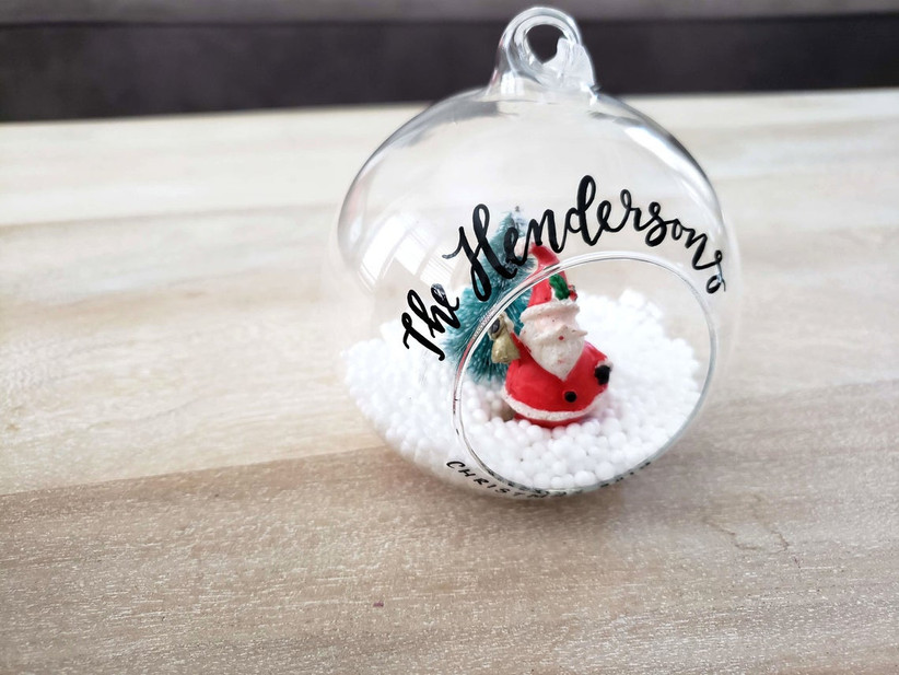santa wedding christmas ornament