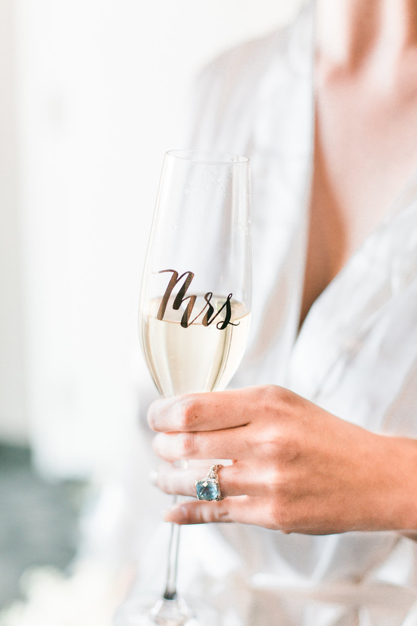 glass champagne flute with