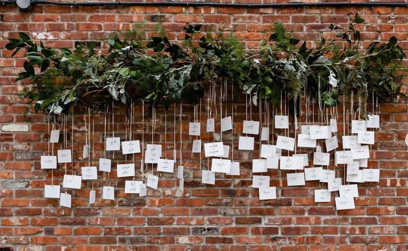 hanging wedding escort card display