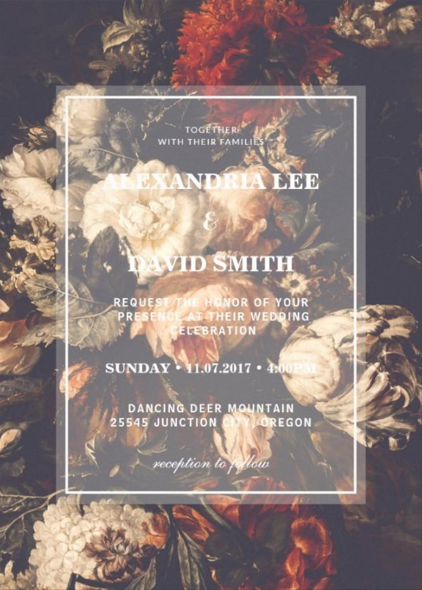 moody floral fall wedding invitation