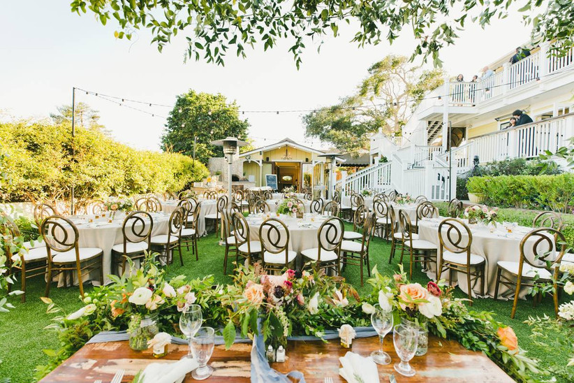 reception lawn at the perry house in monterey california carmel wedding venues