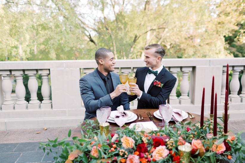 couple toast at wedding