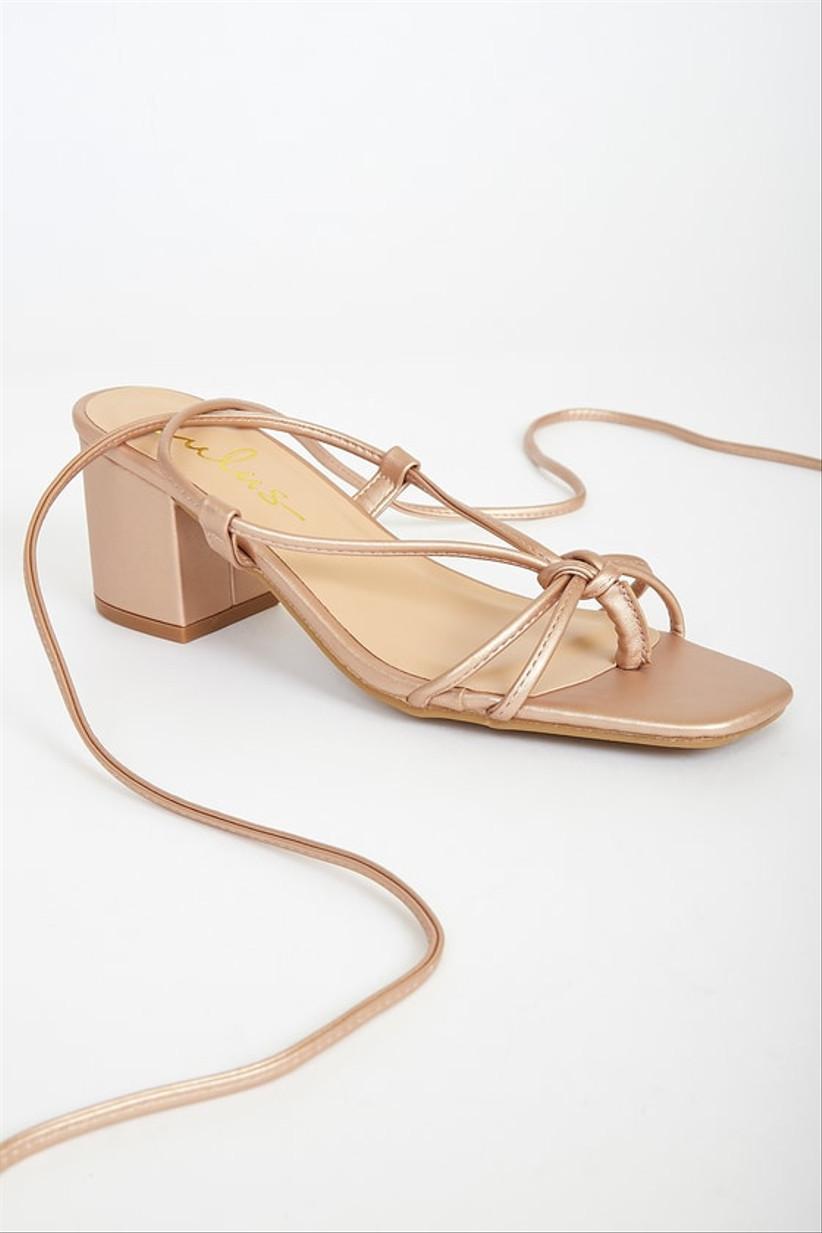 rose gold block heel beach wedding sandal with long ankle ties