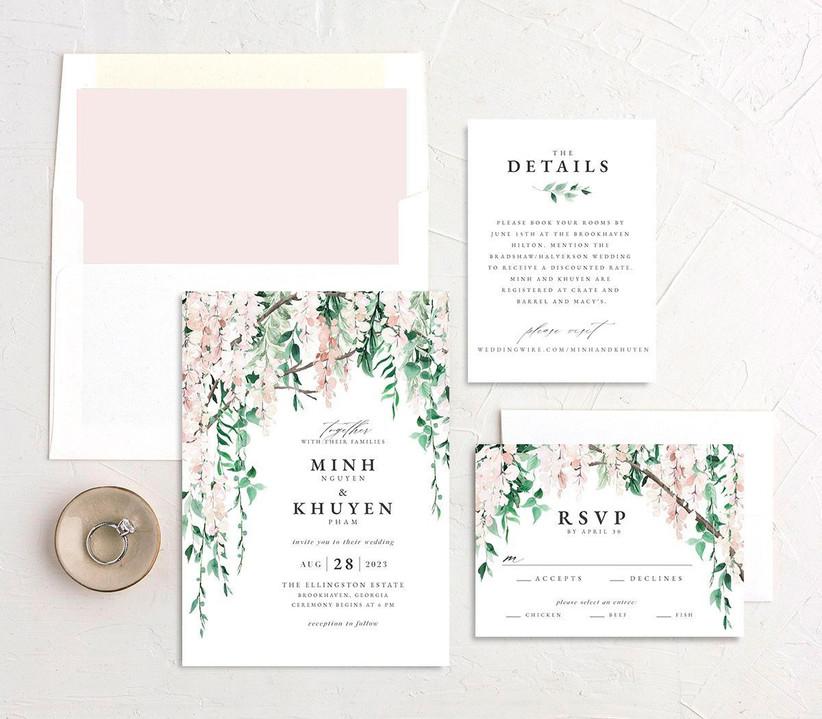 Pretty floral WeddingWire Invitations invitation suite