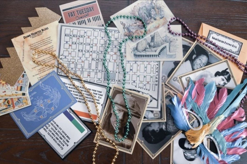 Puzzles and pictures for solving a mystery from The Conundrum Box subscription