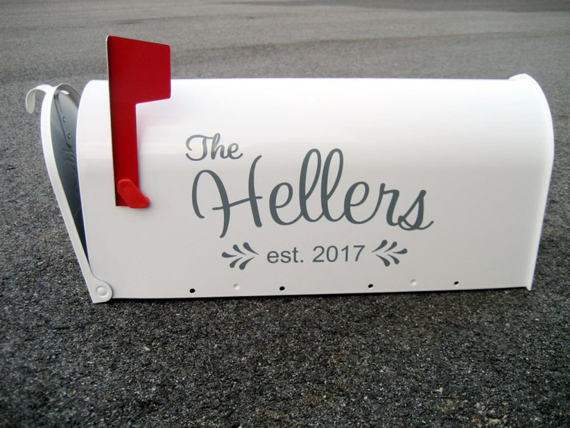 unique wedding card box idea white mailbox personalized with couple's last name and wedding year