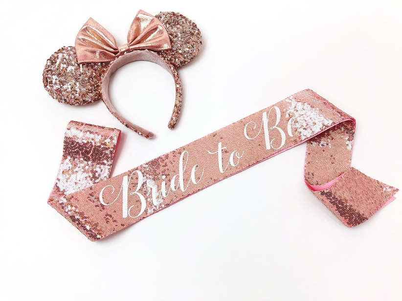 disney bachelorette party sash rose gold sequin sash with matching minnie mouse ears headband
