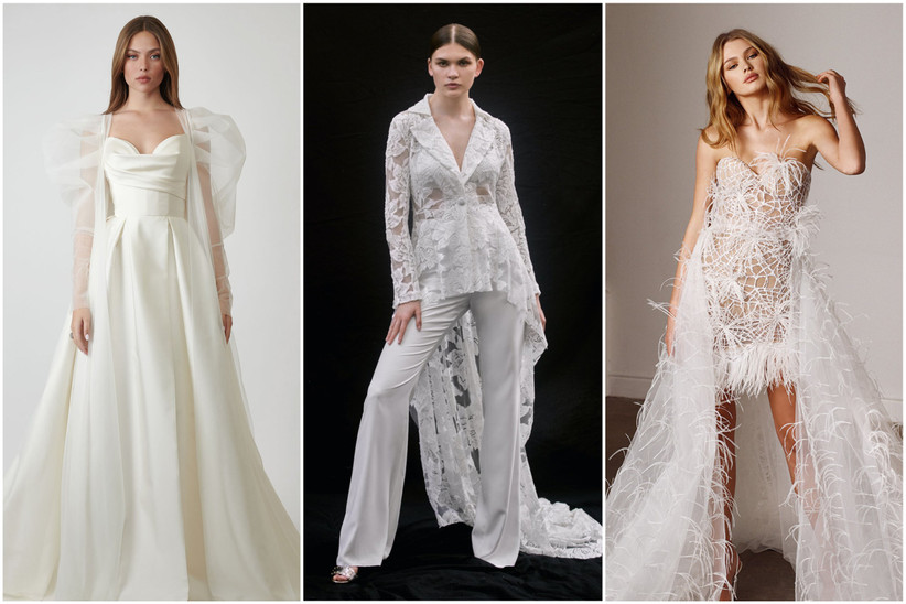 image collage of 2022 wedding dresses and bridal suit